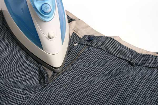 Turn the pants upside down & do iron